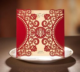 Wholesale Chinese Wedding Red Envelopes - Red Hollow Out Laser Cut Wedding Invitations Card with Envelope Seal Sticker Chinese Wedding Favor Supplies Customized 50Pcs CW506