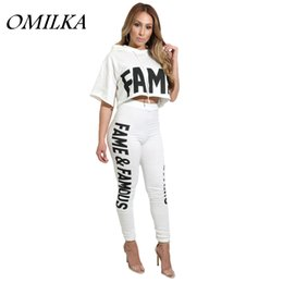 Wholesale Summer Hood Set - OMILKA 2017 Hot Summer Women Letter Printed Hood Crop Top and Long Pant Set Casual Black White Hooded 2 Piece Set Tracksuit