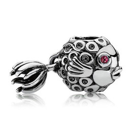 Wholesale Authentic Sterling Silver Bead Charm Vintage Angel Fish With Crystal Beads Fit Women Pandora Bracelet Bangle DIY Jewelry HKA3018