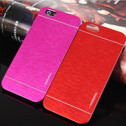 Wholesale Aluminium Back Cover - MOTOMO Ultrathin Brushed Metal Cell Phone Back Cases Cover Colorful Luxury Skin Aluminium Alloy For iPhone 7 6 6S Plus Samsung S6 edge