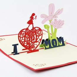 Wholesale Mothers Greeting Cards - Wholesale- Mothers Day Card  3D pop up greeting card  handmade Thanks Mum card Card for Mum Free shipping