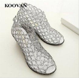 Wholesale Pink Rhinestone Sandals - Koovan Summer Sandals 2017 New Hot Sales Peep Toes Bird's Nest Hole Women Wedges Shoes Flash Crystal Transparent Jelly Cut-Outs Net Beach