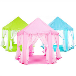 Wholesale Toy Princess Tent - 2017 new Children chiffon hexagonal tent decoration game house princess game castle tents custom free shipping