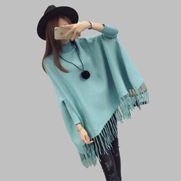 Wholesale Types Women Sweaters - Sweater Shawl Women Autumn dress High collar Cape type Batwing coat Sweater Coat knitting High quality Women's clothes BN1489