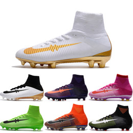 Wholesale New Cleats - 2017 New Football Shoes Mercurial Superfly V FG Men Cleats High Quality Soccer Boots Original Discount Striped Sports Shoes Size 6.5-11
