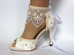 Wholesale Bride Suede Wedding Shoes - Top Selling Free Shipping white silk lace ribbon ankle open toe crystal Wedding Dress Bride shoes Bridemaid shoes size 5-9.5