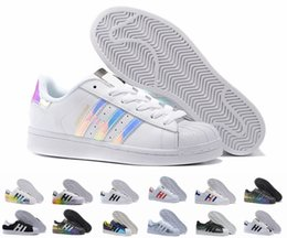 Wholesale Red Star Lights - Superstar Original White Hologram Iridescent Junior Gold Superstars Sneakers Originals Super Star Women Men Sport Running Shoes 36-45