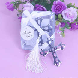 Wholesale Metal Bookmarks Cross - Wholesale- Creative Silver Metal Cross Hollow Bookmark With White Tassel Boxed Bridal Baby Shower Christening Wedding Favours Party Favor