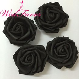 Wholesale Blue Flower Hair - 100pcs 7cm Black Artificial EVA Foam Rose Flower Heads For Party Wedding Decoration Hair Wreath Wrist Corsage Dress Accessories
