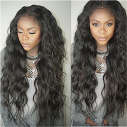 Wholesale Super Wave Lace Front - Super Soft 8A Unprocessed Brazilian Indian human hair Natural Loose Wave Glueless lace Front wigs for black women