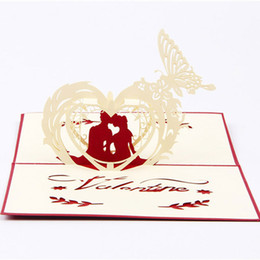 Wholesale Three Dimensional Greeting Cards - New Creative 3d hollow three-dimensional greeting cards sculpture lovers letter little cards Valentine's Day free shipping