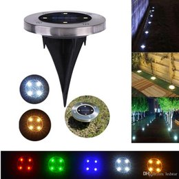 Wholesale Waterproof Lawn Ground Lights - LED Solar Ground Lights 4LEDs Stainless Steel+ABS Garden Path Lawn Lamps Outdoor Waterproof Lighting Decorations Landscape Yard Park