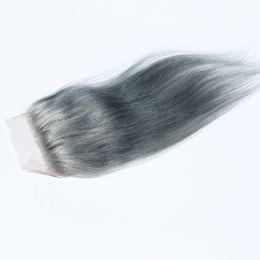 """цвет волос для азиат Скидка Серый цвет перуанский закрытие волос прямо 4 """"х 4"""" швейцарский кружева сверху закрытие человеческих волос"""