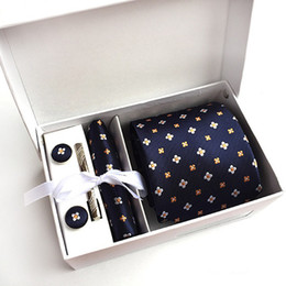 Wholesale Tie Cufflinks Hanky Set - 2017 New 100% Silk Classic Men Neck Ties Clip Hanky Cufflinks sets Floral brand Formal Wear Business Wedding Party Mens Tie K10