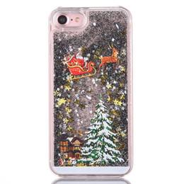 S6 блеск онлайн-Samsung S6 / S7 Чехол Рождественская Елка Санта-Клаус Телефон Случае Блеск Черный Зыбучие Пески