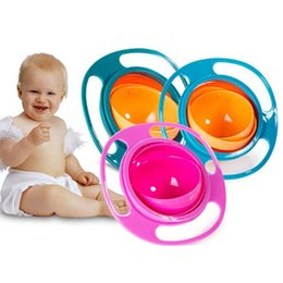 Wholesale toddler bowls - Universal Gyro Bowl Children's Toddlers Baby Kids Toy Bowl Non Spill Rotary Balancing Gyro UFO Baby bowl