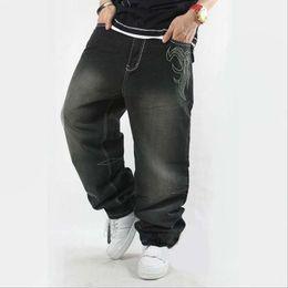 Wholesale Popular Men S Jeans - Wholesale- Jeans Men European Style Men's Classic Embroidered Denim Trousers Youth Popular Hip-hop Loose Skateoard Pants