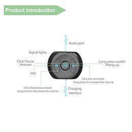 Adaptador estéreo teléfono celular online-A2DP 3.5mm Jack Bluetooth Car Kit Coche Bluetooth Inalámbrico 4.0 AUX Audio Adaptador de Receptor de Música con Micrófono para Teléfono Celular
