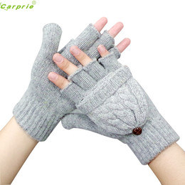 Wholesale Half Hand Leather Gloves - Wholesale- Fashion cotton Warmer Mittens Wrist Gloves women protect hands half finger guantes moto motocicleta guantes ciclismo NOV 22