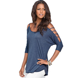 women off shoulder tee Promo Codes - Wholesale- 2016 Hot Women Cutout Design Round Neck T Shirt Casual Loose Off Shoulder Tops Tees New Arrival