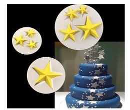 Wholesale Wholesale Fondant Moulds - 3D Silicone star cake Mold 1 3 4 stars Fondant Cake Food Grade Silicone Mould Bakeware Maker