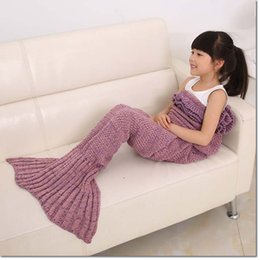 Wholesale Air Costumes - 140*70cm Children Fashion Knitted pleated Mermaid Tail Blanket Super Soft Warmer Blanket Bed Sleeping Costume Air-condition Knit Blanket