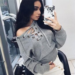 Wholesale Crossover Tie - Autumn Sexy Woman Fashion Knitting Sweaters V-neck Knits with Lace-up Crossover Belt ties Long sleeves cloth solid color