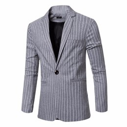 Printemps des hommes de haute qualité Stripe Mode Blazers Costumes Slim Fit Suit Veste en coton Marque Business Casual Dress Hommes Suit Vestes à partir de fabricateur