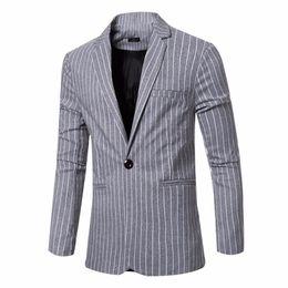 Wholesale Fitted Denim Blazer - spring Mens high quality Stripe Fashion Blazers Suits Slim Fit Suit Cotton Jacket Brand Business Casual Dress Men Suit Jackets
