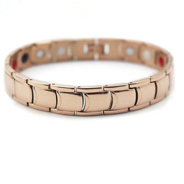 Wholesale Germanium Color - 2017 Rose Gold Color Stainless Steel Magnetic Therapy man germanium and tourmaline health therapy bracelet japan power bracelet gold
