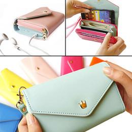 Wholesale Envelope Wallet Case For Iphone - Wholesale- 2016 Sweet ladies Multifunctional Handbag Envelope Wallet Purse Phone Case for iPhone 5 4s Carteira 9IFU