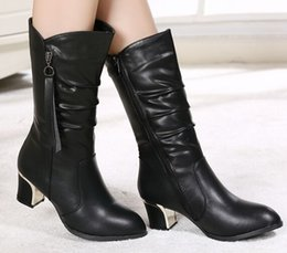 Wholesale Cheap Satin Heels - Black New Arrival Hot Sale Specials Super Fashion Influx Cheap Knight Round Toe Female Leather Black Cotton Noble Heels Boots EU34-40
