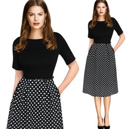Wholesale Polka Dots Tunic - Womens Elegant Vintage Summer Polka Dot Belted Tunic Pinup Wear To Work Office Casual Party A Line Skater Dress