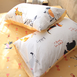 Wholesale Funny Pillowcases - Wholesale- 100 Cotton Doggie Pillow Cases Cute Couple Little Puppy Pillow Case Cover Funny Animal Pillowcases