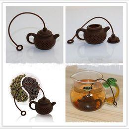 Wholesale Food Coffee - New Creative Tea Pot Shaped Tea Infuser Food Grade Silicone Tea Strainer White Coffee Good Kitchen Tools