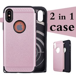 Wholesale Iphone Cover Champagne - Hard PC Back Cover With Soft TPU Around Armor For Iphone X 6 6S 7 8 Plus Samsung Galaxy s6 s7 s8 plus note8 2 in 1 Mobile Cell Phone cases