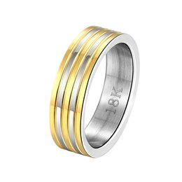 Wholesale Male Sterling Silver Wedding Ring - Free shipping Wholesale 925 Sterling Silver Plated Fashion Inter gold stripe steel ring -9 code - male Jewelry LKNSPCR099-9