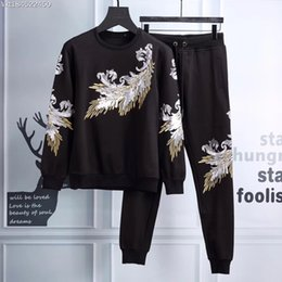 Wholesale Black Sequin Cardigan - The original tide brand men 2017 Mens Casual suit fashion sequins sweater stitching personality Guardian pants two piece male