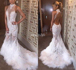 Wholesale Mermaid Dresses Feathers - Luxury Backless Mermaid Prom Dresses 2016 High Collar Feather See Through White Lace Bridal Evening Bridal Gowns Pageant Celebrity Dresses