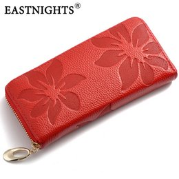 Wholesale Name Branded Wallets - Wholesale- EASTNIGHTS 2017 New Designer Genuine Leather women's wallet Flower Pattern Ladies Purse Name Brand Clutch Bag WL039