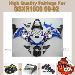 Wholesale Silver Blue Gsxr Fairings - Blue&silver&black fairings fit for Suzuki GSXR1000 K1 2000-2002 2001 GSXR 00 01 02 #a3d53