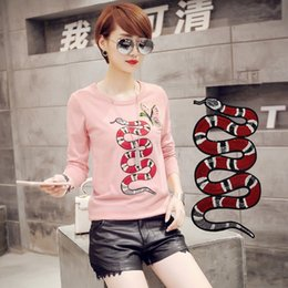 Wholesale trousers patch - Red Snake Appliques Rattlesnake Patch Embroidered Iron On Patches For Clothes DIY Jean Trousers T-shirt Clothing DIY Handmade Sewing