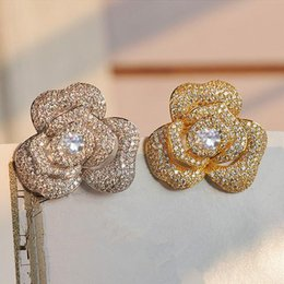 Wholesale Cc Clothing - Wholesale- XZ10 Camellia flowers Luxury Brand Chan cc style nel Lapel Pins and Brooches Broche Broach Jewelry Fashion for Women Clothing