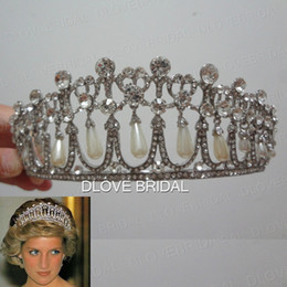 Wholesale Tiara Free Image - Shinny Princess Diana Same Pearl Crown Crystal Tiara Bridal Jewelry Wedding Party Hair Accessory with Real Image High Quality Free Shipping