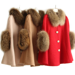 Wholesale Raccoon Cuffs - New Women's autumn winter warm natural raccoon fur collar fur cuff batwing sleeve loose poncho wool woolen cape coat cloak mantle casacos