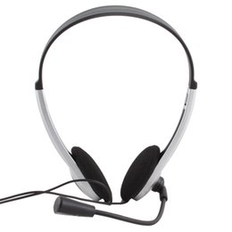Wholesale Cheap Headphones For Laptop - Cheap Wired Gaming Earphone Headphone With Microphone 3.5mm Plug MIC VOIP Headset Skype for PC Computer Laptop #21228
