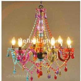 Wholesale Vintage Acrylic Lamps - Free Shipping Art deco Colorful Chandelier Mixed color Pink Black Blue Living Room Candle Lamps luxury Acrylic Crystal Lighting