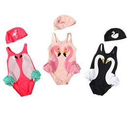 2019 capas de banho por atacado Atacado 2 pcs set crianças swimwear Ins Swan Biquíni Meninas Flamingos Papagaio Swimsuit Ruffled Maiô Beachwear boné com uma peça de Biquíni capas de banho por atacado barato