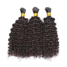 Wholesale Curly Hair Bulk Brazilian - 100% Human Hair Braiding Bulk Kinky Curly No Weft Mongolian Hair Bulk Natural Black 3pcs lot