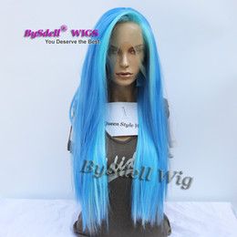 Wholesale Highlights Front Lace - Hot Sale Free part Highlight Blue Color Wig Synthetic Bright Blue color unicorn hair lace front wigs for mermaid cosplay
